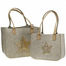 Felt bag with sequin star nature set of 2
