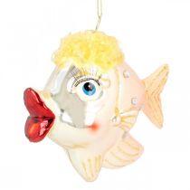 Christmas tree decorations fish, decorative pendants, Christmas decorations, real glass H9.5cm 2pcs