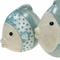 Decorative fish terracotta blue, gray H14cm / 12.5cm set of 2