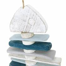 Maritime fish decoration made of driftwood blue, white L70cm
