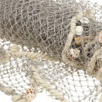 Fishing net with shells and driftwood 135cm