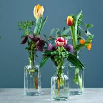 Bottle vase small Ø5,5cm H10,5cm clear 6pcs