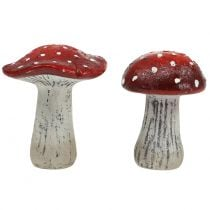 Toadstools made of ceramic red, white H12,5cm 2pcs