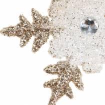 Christmas Tree Decoration Snowflake Glitter Pearls 2pcs