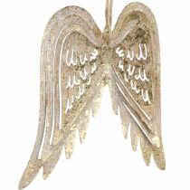 Angel wings, metal decoration to hang, Christmas tree decorations golden, antique look H11.5cm W11cm 3pcs