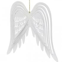 Wings to hang, Advent decoration, angel wings made of metal White H29.5cm W28.5cm