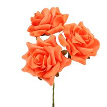 Foam Rose Ø 10cm Orange 8pcs