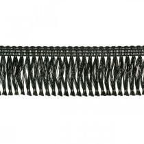 Fringe ribbon, cordonet border, leonian fringes black W4cm L25m
