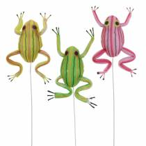 Decorative frogs sorted with wire 7cm 3pcs