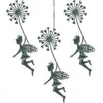 Spring decoration, elf with dandelion, decoration pendant flower fairy, metal decoration 3pcs