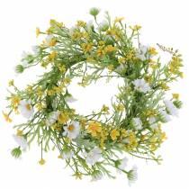 Flower wreath with wood anemone white, yellow Ø30cm