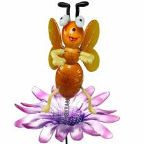 Flower pin bee on flower with metal springs orange, violet H74cm