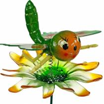Decorative plug butterfly and flower with metal springs green, orange H70cm