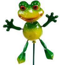 Flower stud frog with metal springs green, yellow H65.5cm