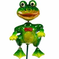 Plant plug decoration frog with fly and metal feathers green, yellow, red H68.5cm