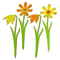 Garden Plug Metal Flower Orange, Yellow 47cm 4pcs