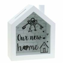 """Economy box """"Our New Home"""" wood glass white 15x7cm H18cm"""