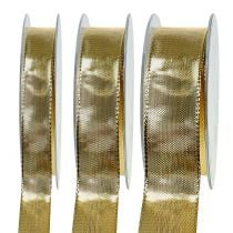 Gold gift ribbon with wire edge 25m