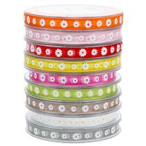 Gift ribbon colorful with blossom 10mm 20m