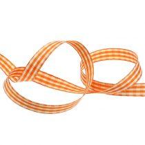 Gift Ribbon Check Orange 15mm 20m