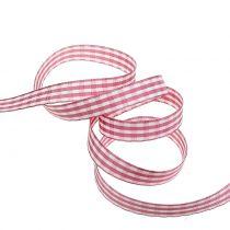 Gift Ribbon check pink 15mm 20m