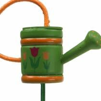 Flower plug watering can wood green, yellow, orange assorted 7.5cm x 5.9cm H30.5cm 12pcs