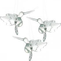Glass decoration birds of paradise, decoration hummingbird, glass pendant, bird decoration 3pcs