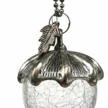 Christmas Tree Decoration Acorn Metal Glass Silver Antique 11cm 4pcs