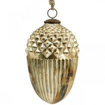 Autumn decoration, decorative acorn real glass, Advent, antique look Ø12cm H21cm