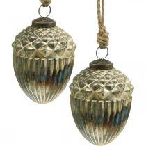 Acorns to hang, autumn fruits, tree decorations, real glass, antique look Ø7.5cm H10.5cm 2pcs