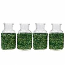 Glass bottle with bast green H10cm 4pcs