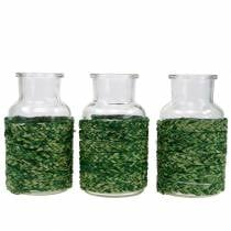 Glass bottle with bast green H12.5cm 3pcs