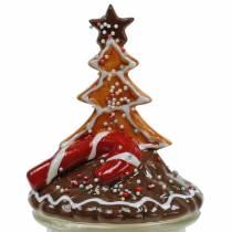 Biscuit tin with ceramic lid gingerbread red, brown H21.5cm cookie jar