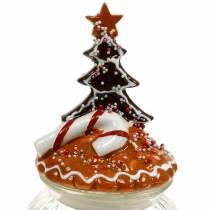 Glass jar with ceramic lid gingerbread white, brown H21.5cm cookie jar