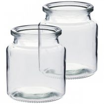 Glass vessel for filling, flower vase, table decoration, glass lantern 2pcs