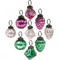Glass ball mix, diamond / ball / cone made of real glass, antique look Ø3–3.5cm H4.5–5.5cm 9pcs