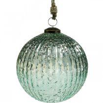 Glass ball to hang blue vintage Christmas decoration glass Ø15cm