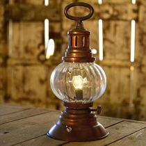 LED storm lantern, metal lamp, decorative lamp, vintage look Ø12.5cm H30cm