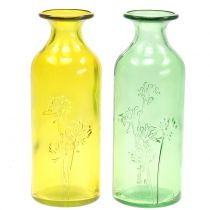 Glass Vase Bottle Yellow, Green H19cm 2pcs