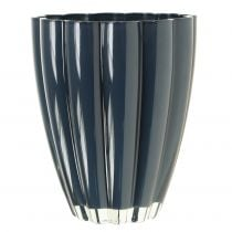 "Glass Vase ""Bloom"" Dark Blue Ø14cm H17cm"