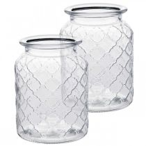 Glass vase diamond pattern, lantern, decorative glass jar, table decoration 2pcs