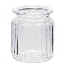 Ribbed glass vase Ø7.5cm H9cm