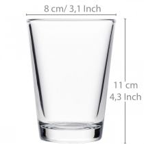 Glass vase clear Ø8cm H11cm for table decoration
