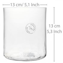 Cylindrical glass vase Crackle clear, satined Ø13cm H13.5cm
