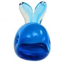Glass whale Blue L12cm