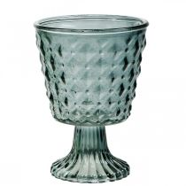 Cup glass with foot, glass lantern Ø11cm H15.5cm