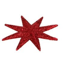 Glitter star red Ø10cm 12pcs