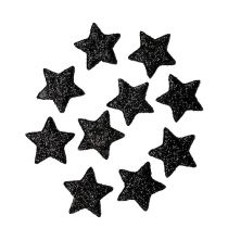 Glitter star black 2.5cm 100pcs