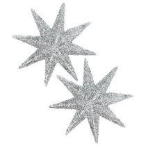 Glitter star silver Ø10cm 12pcs