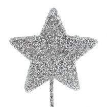 Glitter star silver 4cm on wire 60pcs